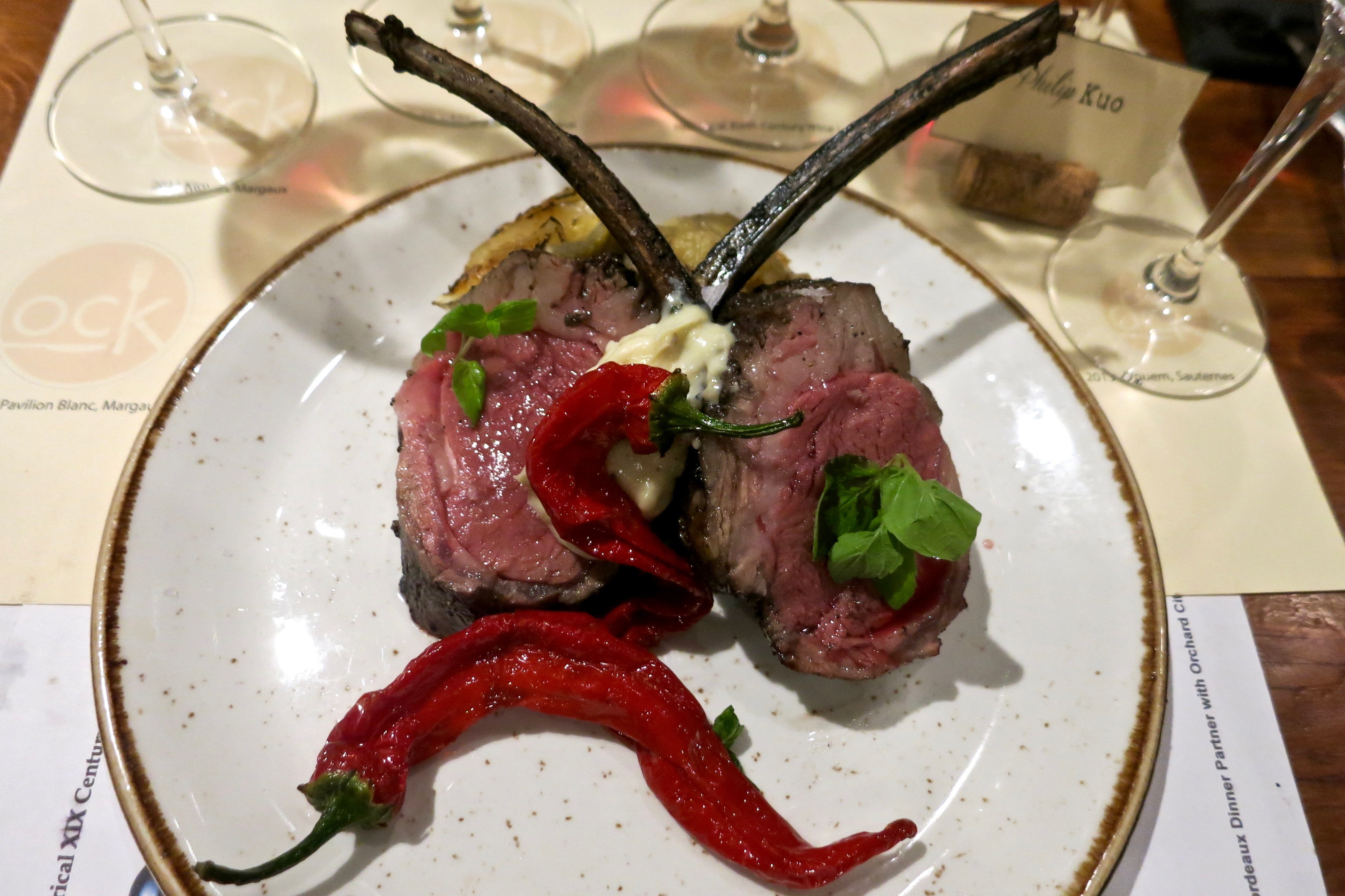 "Lamb Chops. Potatoes ""Boulangere."" Jimmy Nardello Peppers."